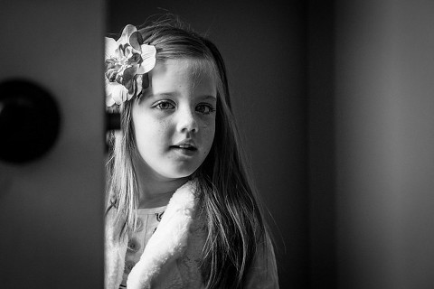 Lovely black and white portrait of girl from Naperville family picture session in home