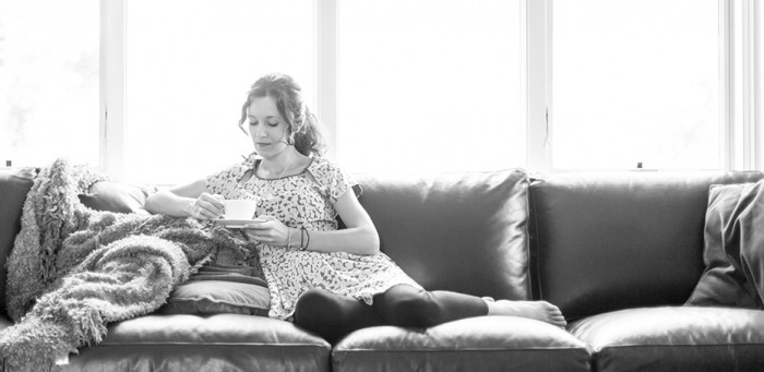 naperville, chicago family portrait photographer, black and white, dramatic, quiet moment, woman with tea