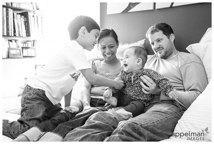 Photojournalistic Family Photography in Naperville, Honest Family Photos in Sunlit room, black and white laughing