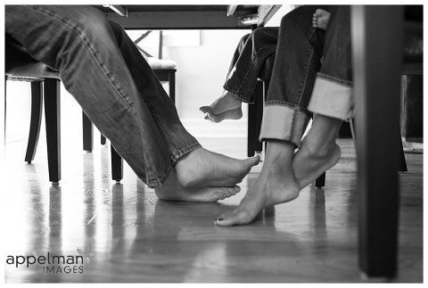 Photojournalistic Family Photography in Naperville by Appelman Images Photography, family feet under the breakfast table