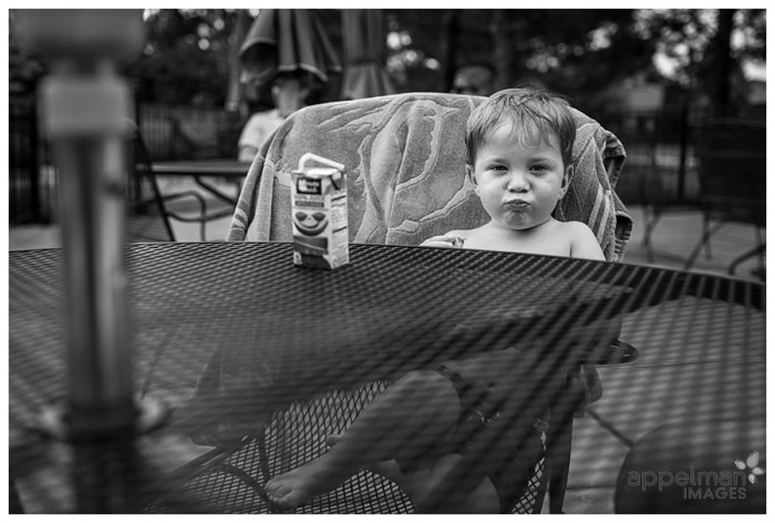 pool party lunch time black and white summer photo in naperville 229-365 2014