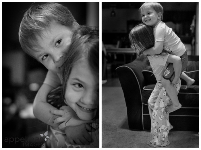 Sibling kids piggy back game with preschool children by naperville photographer 242-365 2014