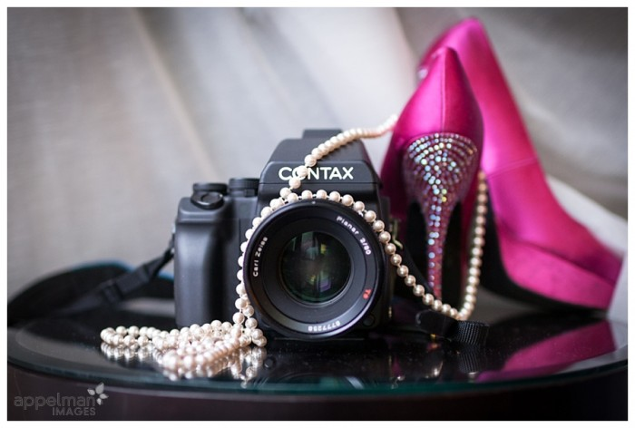 Contax 645 dream film camera with pink heals and pearls 104-365 2014