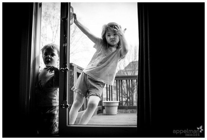 Documentary Child Photographer in Naperville Sliding door and kids 112-365 2014
