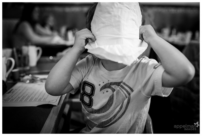 Naperville Family Photojournalism Toddler Baby Peekaboo with a napkin 118-365 2014