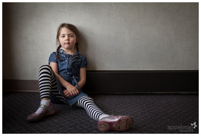 Custom Portraits for Family and Child in Naperville Little girl with striped leggings After School 126-365 2014