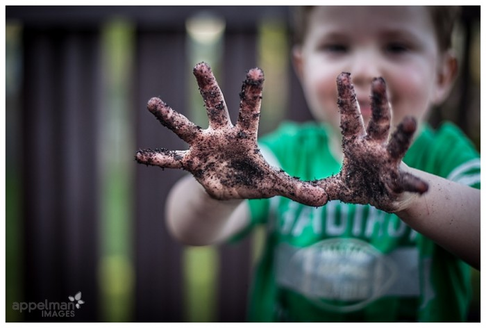 Naperville Child and Family Photography custom outdoor and at home pictures baby with soil and dirt hands 131-365 2014