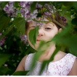 Custom Photographer for Families in Naperville Sweet girl spying in the lilacs 133-365 2014