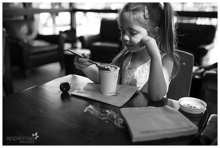 Morning Hot Chocolate Big Little Girl at Starbucks Naperville Custom Documentary Photography for Family 141-365 2014