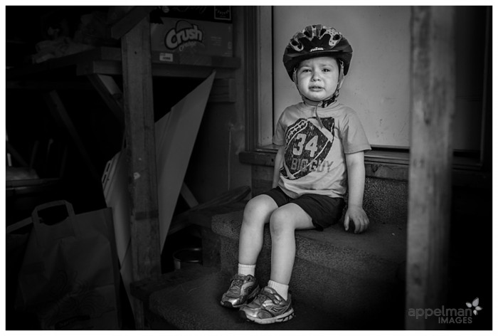Naperville Family Documentary Photographer Toddler in Timeout and Helmet 142-365 2014