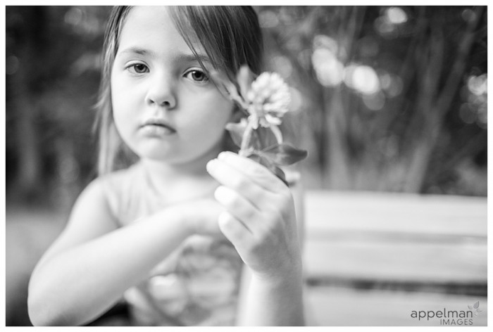 Freelensing with Little girl and clover flower naperville custom portraits by art photographer for family 167-365 2014