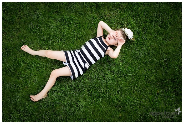 Alice in Wonderland Stripes Little girl in black and white stripes on grass Naperville Child Photographer 180-365 2014