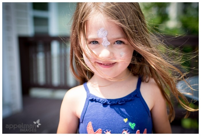 Glitter Stickers windblown hair and blue eyed child by naperville family photographer 207-365 2014