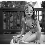 Mermaid bath in bucket with water filled goggles child in pool 209-365 2014