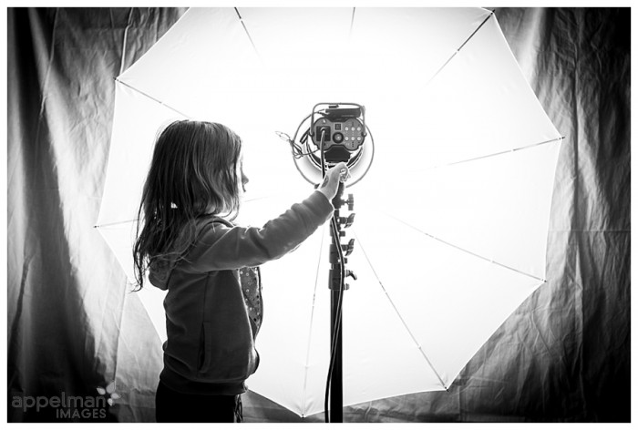Naperville custom child portrait little girl lighting flash umbrella black and white 38b-365 2014