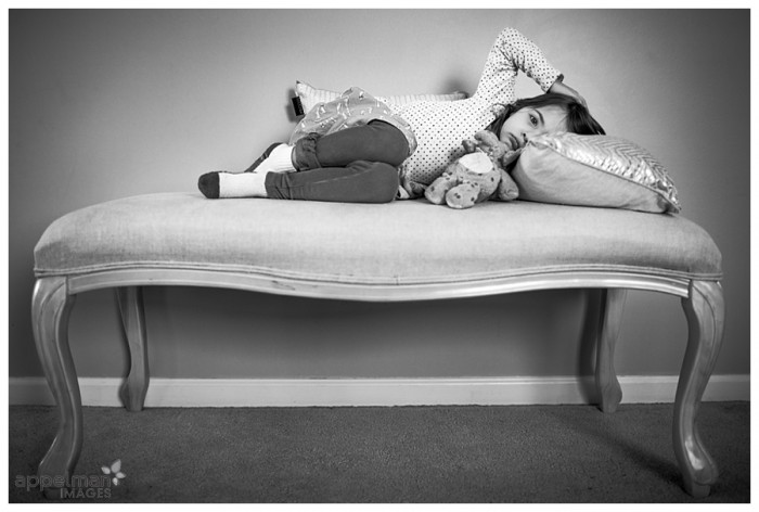 Naperville Kid Photographer Little Girl Resting on the new bench at home 76-365 2014
