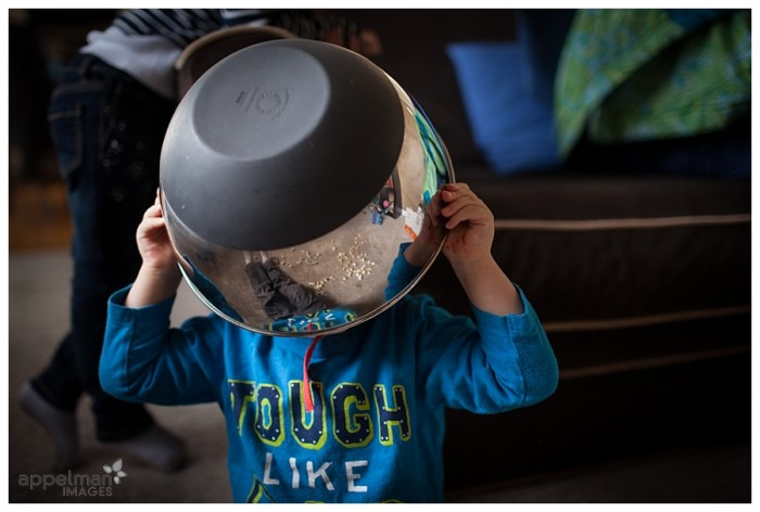 Naperville Family Documentary Photo Kid Portraits Quirky and Fun Bowl on his head 92-365 2014