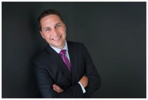 Naperville business headshot portrait dark suit dark background purple tie