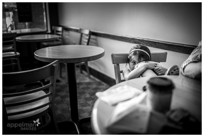 Documentary Photography of Little girl in Coffee shop naperville family photographer 153-365 2014