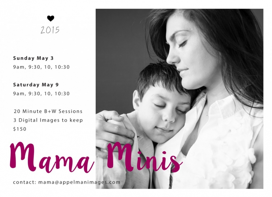 2015 Mama Minis 4x6 Ad 2 black and white photo of mother and son child