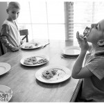 Chowing down breakfast at home lifestyle photography oswego il