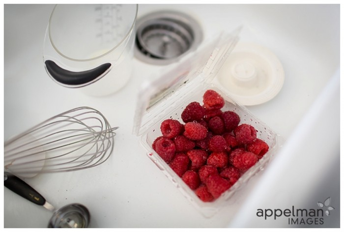Still Life Raspberries with kitchen supplies white sink Oswego Naperville Photographer