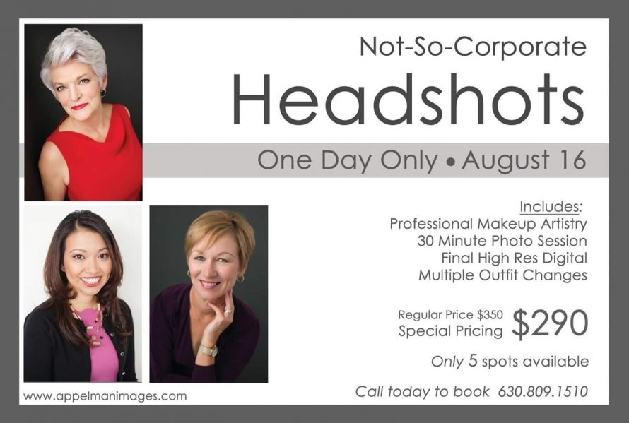Naperville not so corporate headshot day makeup makeover included