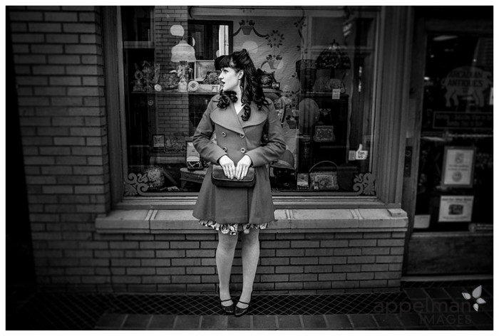 Girl in black and white vintage style