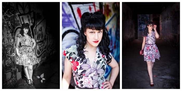 Graffiti wall and classic retro style girl in black and white and shadow portrait
