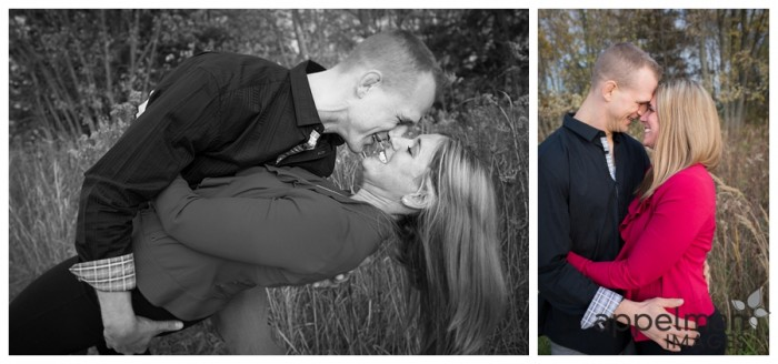 Sweet couple in red and black and white family mini session collage