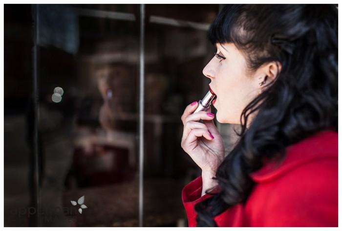 red lipstick window mirror style portrait