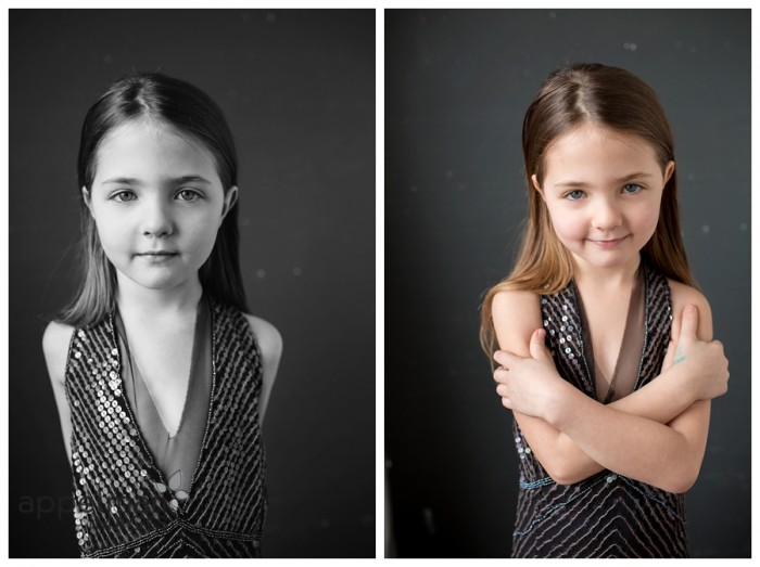 Chicago child model Beautiful model portrait of young girl in dark sparkly dress arms crossed closer image naperville glamour studio color and black and white